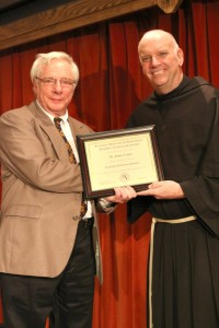 Dr. Jim Coyle, professor emeritus of communication arts, with the Rev. Sean Sheridan, TOR. Photo FUS Provided.