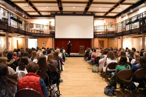 Fr. Ryan Mann speaks to the women of campus on the Spousal Meaning of the Body in the Mass. Photo by Elizabeth Feudo