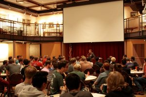 Robert Siemens, Director of Pastoral Care and Evangelization, speaks to the men of campus about Authenticity, Intimacy, and Magnanimity. (Photo by Ben Siemens)
