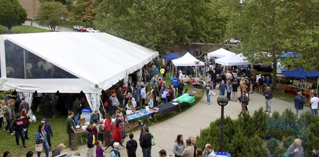Students, families, and alumni traverse throughout the St. Francis Festival, checking out the household vendors who sell food, religious articles, and much more. (Photo by Ben Siemens)