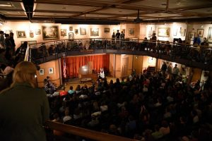 Students fill the Gentile Gallery to sing and worship with Audrey Assad. (Photo by Elizabeth Feudo)