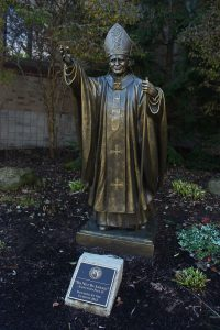 Statue of Saint Pope John Paul II, a senior gift from the class of 2012. (Photo by James Kuepper)