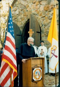 Rev. Michael Scanlan, TOR, at the blessing of the Portciuncla at Franciscan University. (Photo FUS provided)