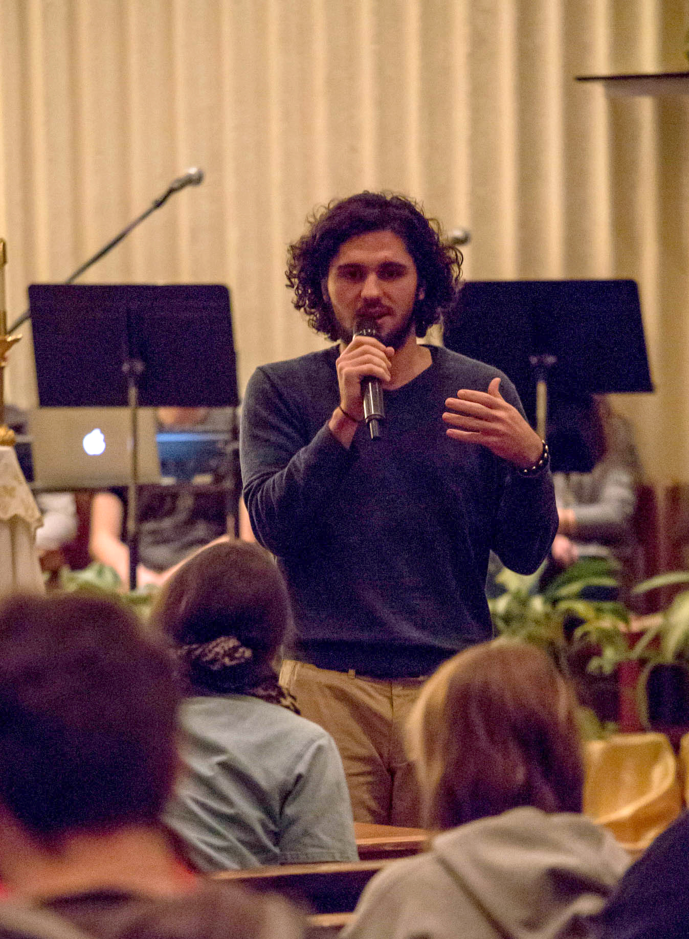 Speaker during Tuesday night's Praise and Worship in Christ the King Chapel